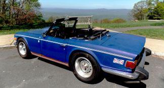 Matt Strus' Blue 1974 TR6 on the Skyline Drive, Blue Bridge Parkway