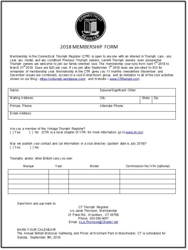 CTR Membership Form-2018