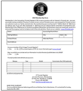 CTR Membership Form 2019