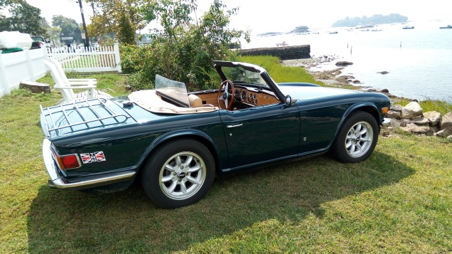 Jane and Jerry Shaw's 1974 Mallard Green TR6 in Stony Creek........the entrance to the Thimble Islands
